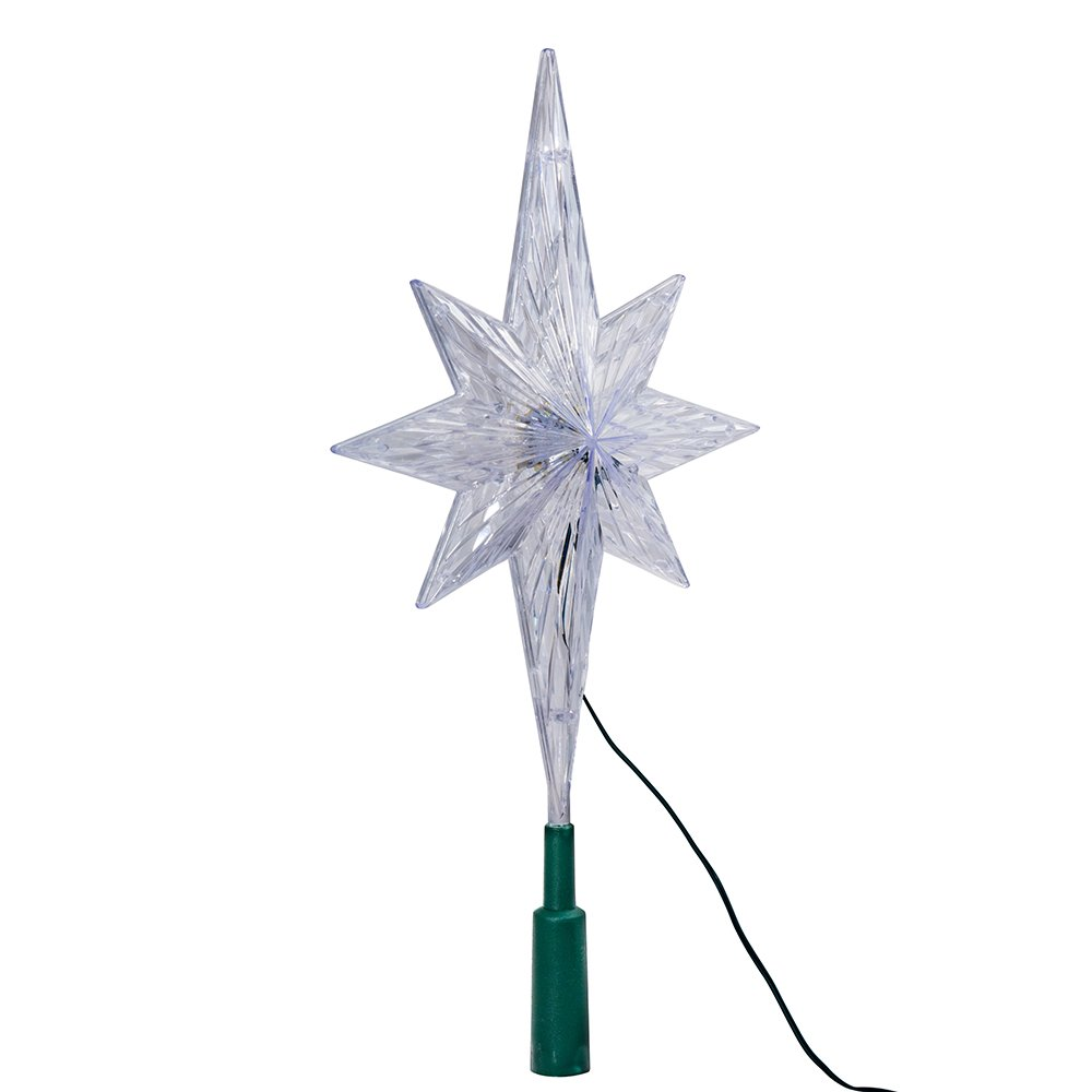 Kurt Adler 11-1/4-Inch UL Polar Star Tree Topper with LED Color-Changing Light
