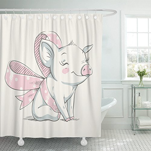 Emvency Shower Curtain Pink Pig Cute Piggy with Bow Cartoon Baby Celebration Greeting and Piglet Animal Waterproof Polyester Fabric 72 x 72 inches Set with - Curtain Pigs Shower