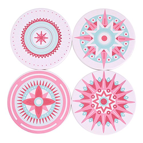 Kartis Coasters for Drinks 4-Piece Absorbent Stone Coaster Set for Drink - Pink Candy Style drink spills coasters ()