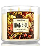 Bath and Body Works Thankful Chestnut and Clove Candle - Large 3-wick 14.5 oz Candle - White Barn No. 2 Chestnut & Clove New Look for 2015 Thanksgiving Holiday Season