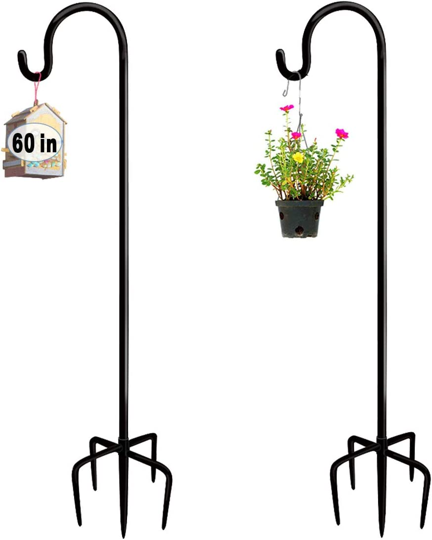 Artigarden 60 Inch Outdoor Shepherd Hook with 5 Prong Bases (2 Packs), Adjustable Heavy Duty Garden Hanging Stake for Bird Feeder Solar Light Plant Hanger Wedding Decor, Matte Black