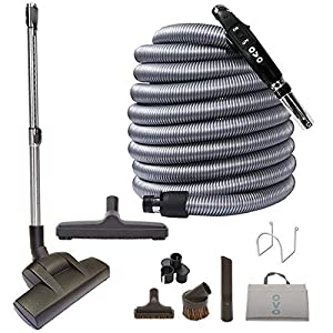OVO Air-Driven Multi Brush Set-50ft Vac Dual Votage Switch Control Hose Central Vacuum Carpet Attachment Cleaning Tool Kit, 50ft, black and grey