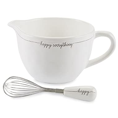 Mud Pie 4605031 Happy Everything Ceramix Mixing Bowl Set, One Size, White