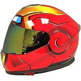 Iron Man DOT Motorcycle Bike Dual Visor Full Face Helmet Golden Red, Size Large (57-58 CM,22.4/22.8 Inch)