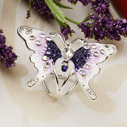 (Women Scarf Buckle Ring Clip Crystal Butterfly Scarf Brooch Jewelry Holder (Color -)