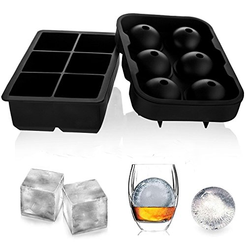Ice Cube Trays (Set of 2), TraderPlus Silicone Sphere Ice Ball Maker with Lids & Large Square Ice Cube Combo Molds for Whiskey and Cocktails, Reusable and BPA Free (Punch Milk Bowl Glass)
