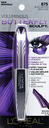 L'Oreal Voluminous Butterfly Sculpt Washable Mascara, 875 Black Brown (Pack of 3) (Mascara Effect Butterfly)