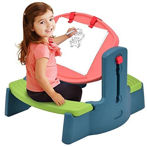 Costzon Kids Art Table Chair Set, 2 in 1 Height Adjustable Creativity Desk Easel (Desk Easel Doodle Flip)
