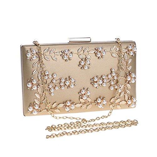 Chain Beaded Ym1121red Rising Bag Metal Party Bag Bridal Evening ONWomen Leaf Bags Wedding Handbags Lady Shoulder Gold Clutch Hvqvx1F