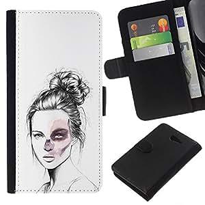 YiPhone /// Tirón de la caja Cartera de cuero con ranuras para tarjetas - Goth Girl - Sony Xperia M2