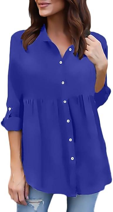 Camisas Mujer Tallas Grandes Manga Larga Chiffon Tul Blusas Casual Elegantes Camiseta Con Volantes Anchos Tops V Cuello Classic Blusones Primavera Verano Basicas Amazon Es Ropa Y Accesorios