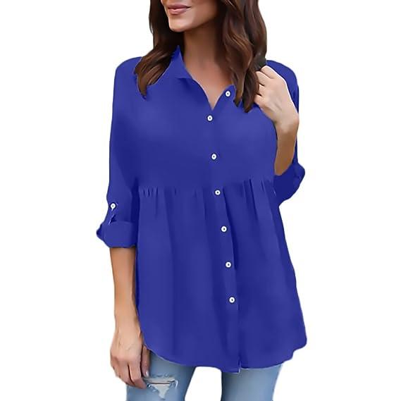 Camisas Mujer Tallas Grandes Manga Larga Chiffon Tul Blusas Casual Elegantes Camiseta con Volantes Anchos Tops