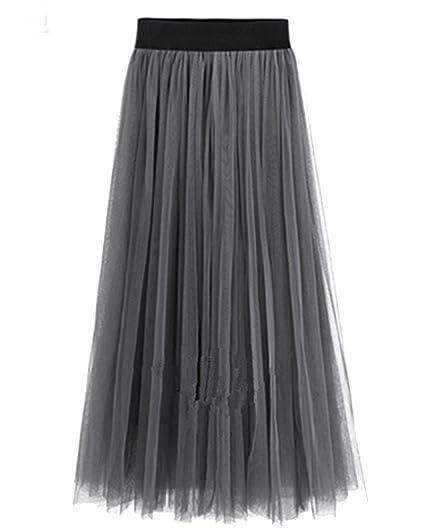 ZhuiKun Mujer Falda de Fiesta Boda de Tul Cintura Elástica Larga ...