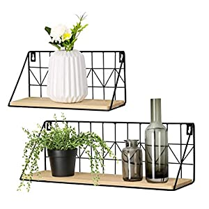 Mkono Floating Shelves Modern Room Decor Boho Shelf Wood Wall Storage Organizer with Black Metal Wire Display Shelving…