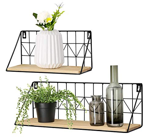 - Mkono Wall Mounted Floating Shelves Set of 2 Rustic Metal Wire Storage Shelves Display Racks Home Decor