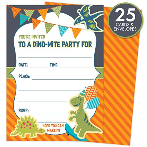 "Dinosaur Party Invitations for Kids' Birthdays or Baby Showers. Set of 25 Cards and Envelopes. Colorful, Fill-In Style For Boys and Girls, 5"" x 7"" Printed on Heavy 140lb Card Stock (Dinosaur Birthday Party Invitation)"