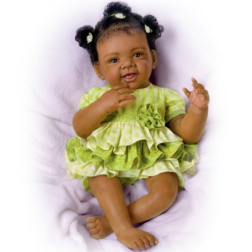 Search : Alexis with Hand-Rooted Hair Hold That Pose!®  Lifelike & Realistic African-American Baby Doll 19-inches by The Ashton-Drake Galleries