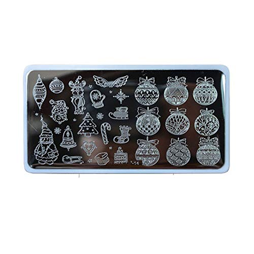 1X Nail Stamping Plates 2019 2019 Year Gift Cartoon/Flower Christmas Steel Stamp Template Nail Polish Stencils,Bowl-14