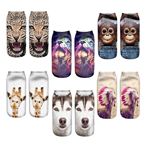 Womens Girls 3D Novelty Colorful Funny Cat Dog Ankle Socks, Crazy Cute Cartoon Low Cut Socks 6 Value Pack