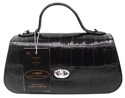 Strap M Baguette Purse Handbag Belly Womens Clutch Authentic Bag Crocodile Skin W Long AwqPaa