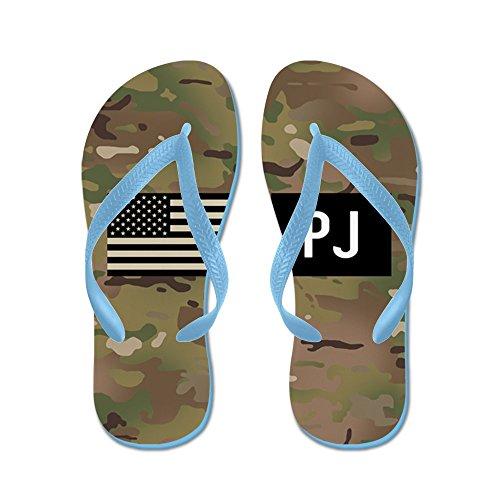 Cafepress Us Air Force: Pj (camo) - Infradito, Divertenti Sandali Infradito, Sandali Da Spiaggia Blu Caraibico