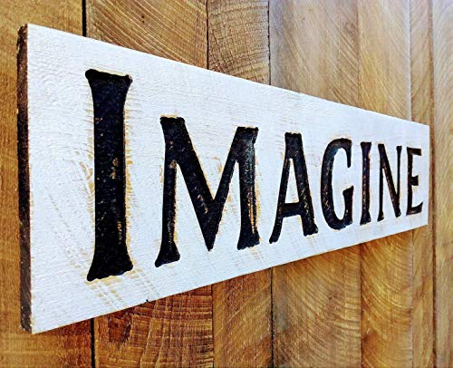 """Large IMAGINE Sign 40""""x10"""" Carved Horizontal-Wood Lumber Rustic Distressed Shabby Style Americana"""