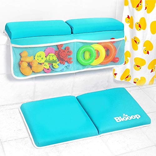 Bath Kneeler with Elbow Rest Pad Set (2-Piece), X-Long, Thick, Knee Cushioned Bathtub Support | Non-Slip Bottom, 4 Caddy Pockets | Hypoallergenic Padding | Blooop Bath Kneeling Pad by Blooop (Image #9)