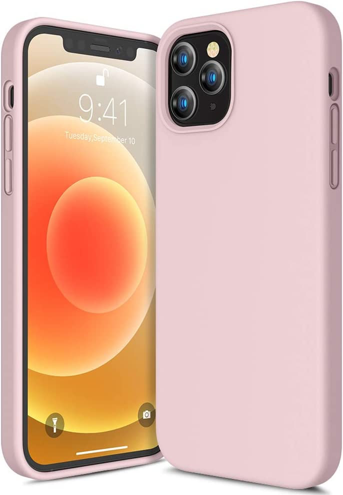 CANSHN Compatible with iPhone 12 Case and iPhone 12 Pro Case 6.1'' 2020, Liquid Silicone Soft Gel Rubber Full Body Protection Shockproof Phone Case Cover - Pink Sand