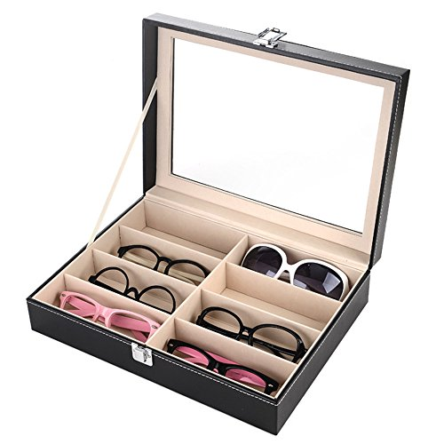 PythonWorld 8 Compartments Sunglass Organizer Collector Eyewear Display Storage Case - Try Free On Eyeglasses Online