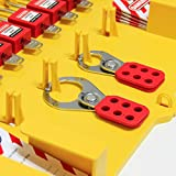 Wisamic Lockout Tagout Station with Cover, Includes 10 Key Different Padlocks, 2 Lockout Hasps, 24 Lockout Tags, 15-1/2 x 22 x 1-3/5 inch