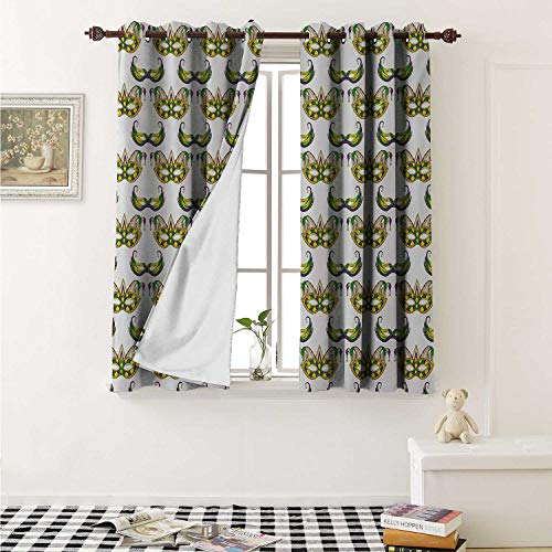 shenglv Mardi Gras Window Curtain Fabric Festive Pattern with Masks Traditional Carnival Celebration Costume Curtains and Drapes for Living Room W55 x L63 Inch Purple Green Yellow -