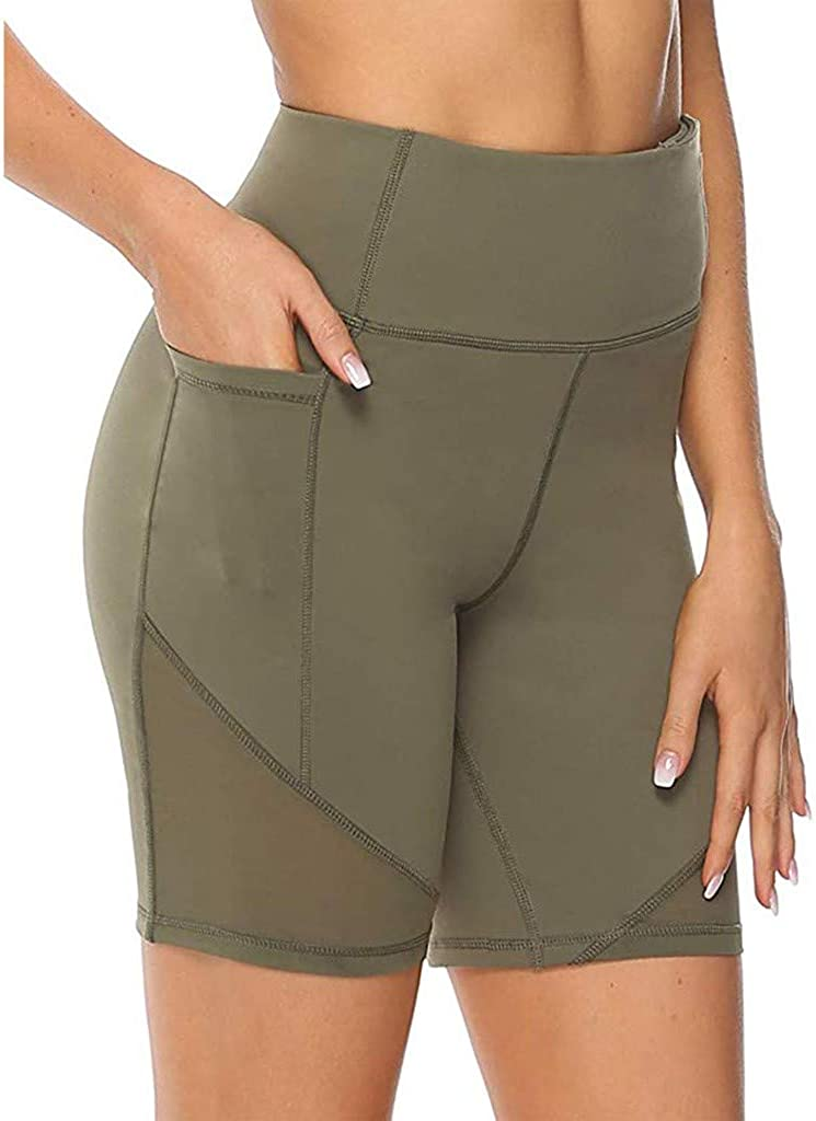 TTOOHHH Women's High Waist Stretch Athletic Workout Shorts with Pocket,Skinny Quick Dry Non See-Through Short Yoga Pants