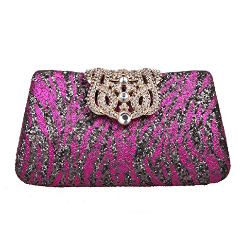 - Fawziya Crown Zebra Pattern Glitter Clutches And Handbags Woman Evening Clutch Bags-Fuchsia