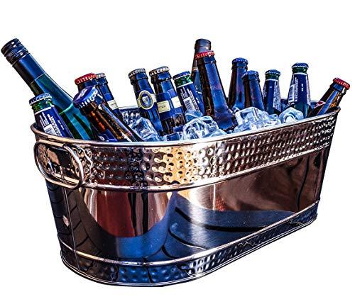 BREKX Colt Hammered Stainless Steel Silver Party Beverage Tub & Wine Bucket- 17 Quarts ()