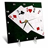 3dRose Alexis Photo-Art - Poker Hands - Poker Hands Straight Six to Two - 6x6 Desk Clock (dc_270320_1)