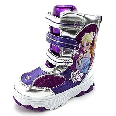 Amazon.com | Frozen Girls Winter Snow Boots (Purple Elsa