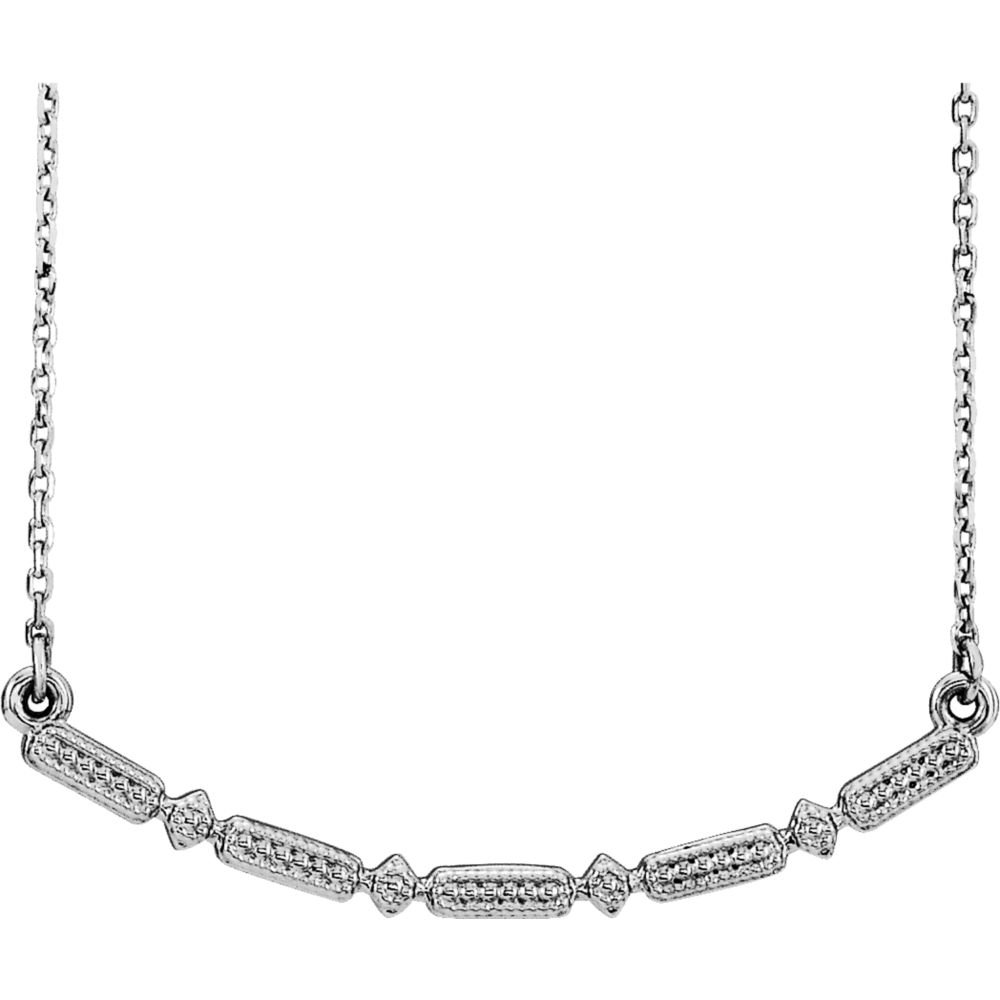 Bonyak Jewelry Sterling Silver Beaded Bar 16-18 Necklace