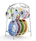 Romero Romero Britto Espresso Cup and Saucer Set w/ Stainless Steel Stand Tree Rack with Icon Dog, Cat, Fish and Bear Print Design