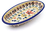 Polish Pottery 5½-inch Condiment Dish (Red Anemone Meadow Theme) + Certificate of Authenticity