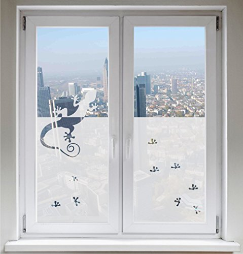 INDIGOS UG - Window picture window film privacy film sunscreen glass decoration French Lily satin opaque - 1200mm long x 500mm