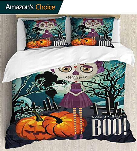 shirlyhome Halloween Bedding Bedspread,Cartoon Girl with Sugar Skull Makeup Retro Seasonal Artwork Swirled Trees Boo Kids Bedding - Double Brushed Microfiber 87