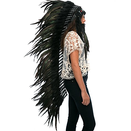 Extra Long Feather Headdress- Native American Indian Style- Super Black Rooster