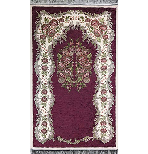 Modefa Islamic Janamaz Sajjadah Thin Chenille Woven Embroidered Floral Rose Prayer Mat (Dark Purple)