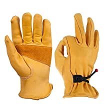 OZERO Mechanix Gloves, Leather Work Glove with Ball and Tape Wrist Closure - Flex & Good Grip for Driving/Logging/Wood Cutting/Forest Work/Gardening - Perfect Fit for Men & Women - 1 Pair (Gold, XL)