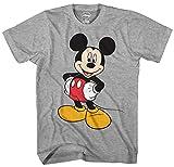 Disney Mickey Mouse Men's Mickey Wash Short Sleeve T-Shirt, Heather Grey, Medium
