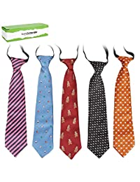 Bundle Monster 5 pc Boys Mixed Pattern Pre-Tied Elastic Fashion Neckties - Set 5