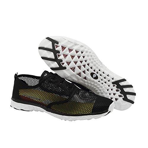 Fanture Dames En Heren Aquaschoenen Sneldrogend Lichtgewicht Mesh Instapper Atletische Sport Casual Sneakers Black03