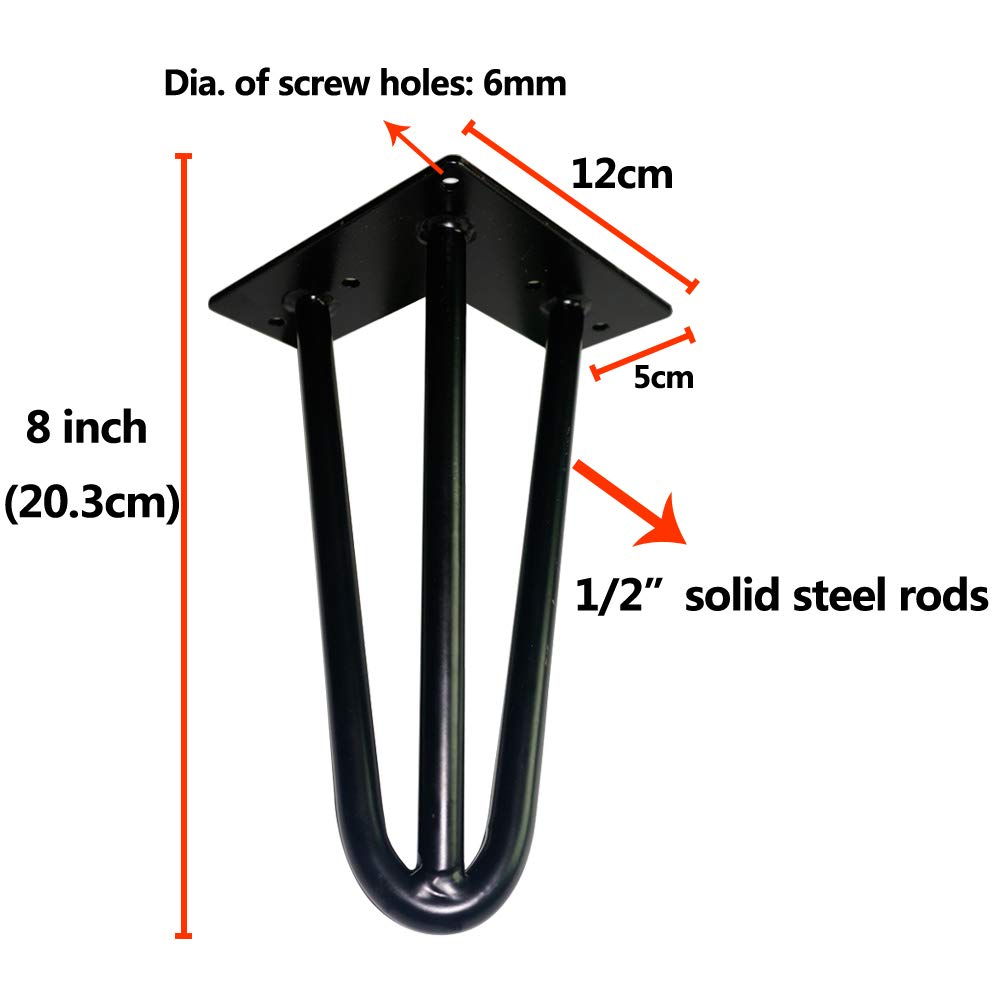 Heavy Duty Cabinet Feet Bed Feet 1//2 Steel Rod 4 Pack CARPETE 8 Steel Hair pin Legs Strong Furniture Hairpin Legs