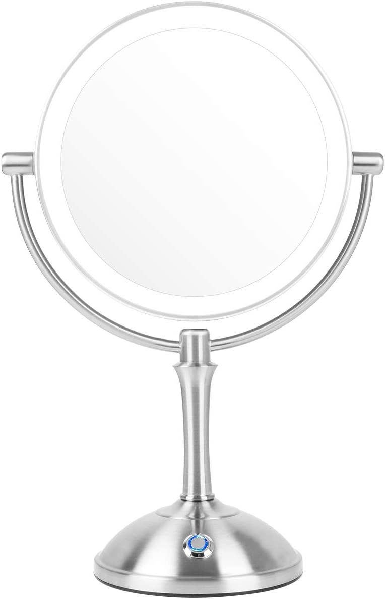 AmnoAmno LED Makeup Mirror-7x Magnifying,7.8 Double Sided Lighted Vanity Makeup Mirror with Stand, Touch Button Adjustable Light-Cord or Cordless Sliver