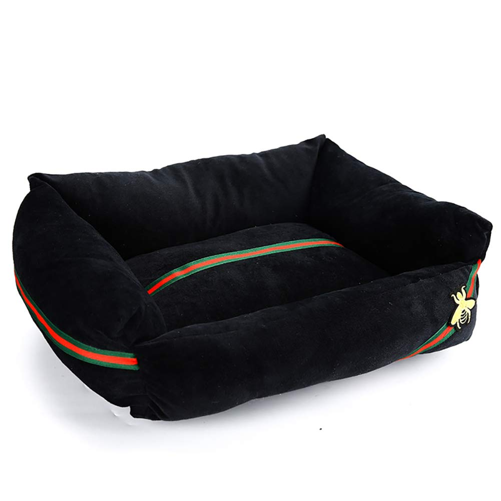 Black Small Black Small Extra Soft Pet Dog Bed,Resistant with Removable & Washable Cover with Bee Embroidery,Self Warming and Breathable Pet Bed Premium Bedding,Black,S